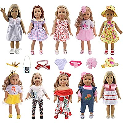 Aimee American Doll Clothes and Accessories fit American 18 inch Girl Dolls - Including 10 Complete Set Toys Doll Outfits and Doll Accessories with Cap, Crown,Bag, Underwear and Hair Clip: Toys & Games