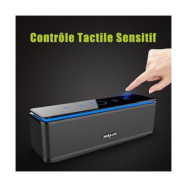 Enceinte Bluetooth Portable, Batterie Externe 10000mAh 26W 4 Haut-Parleurs 24 Heures d'Autonomie Subwoofer Basses Puissantes Contrôle Tactile AUX/Micro Carte SD/TF/Microphone-Noir 4