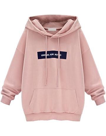 Hoodie Damen Mode Sweatshirt große Größe mit Kapuze Brief Pullover Frauen  Hoody Oversize Pulli Kingwo 7d411b06cc