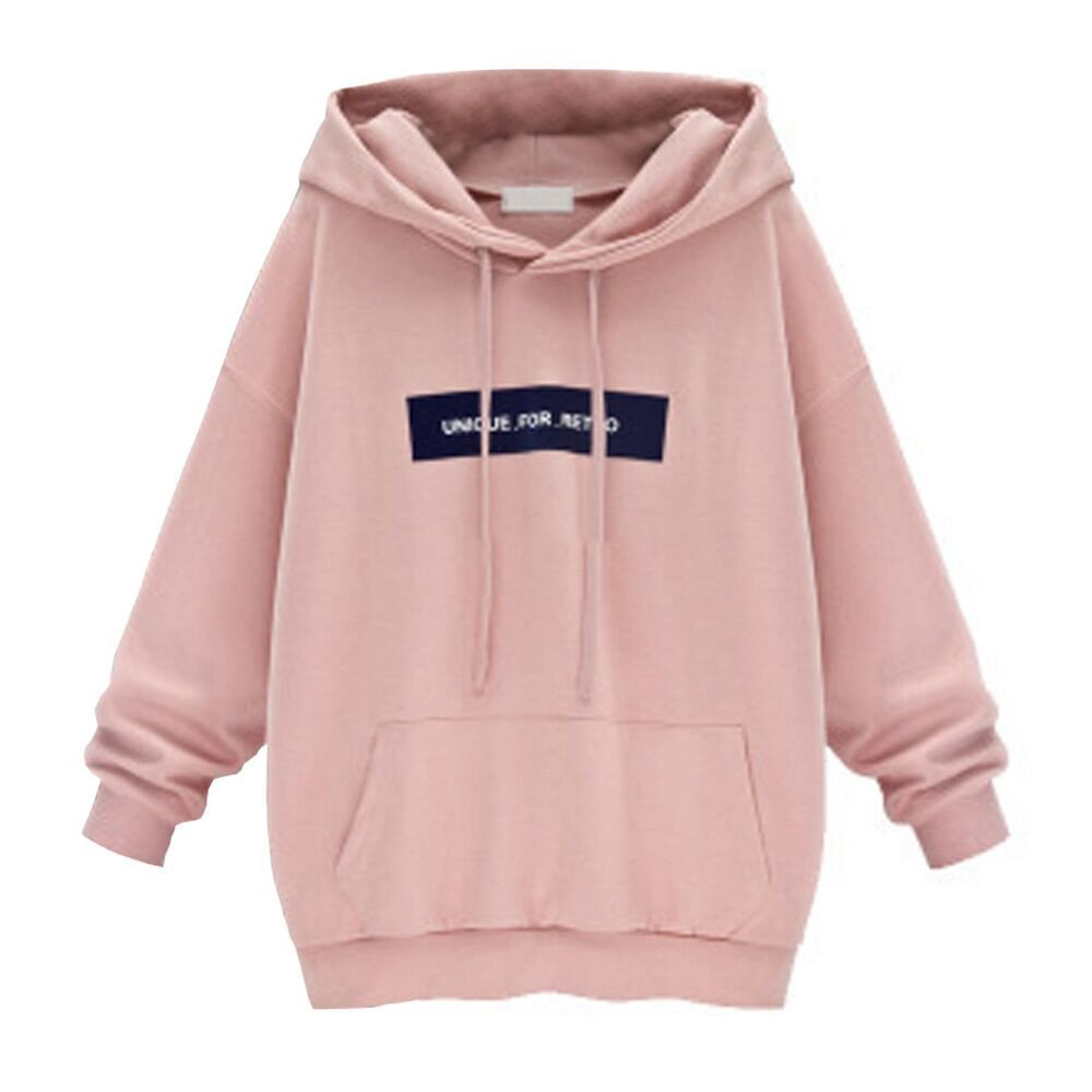 Women Sweatshirts Long Sleeve Plus Size Fahion Ladies Hoodie Shirt Jumper Letter Printed Pullover Casual Tops Blouse Pink