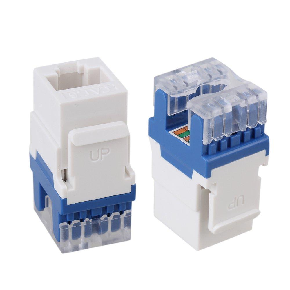 Mxfans 50Pieces 180 Degree Cat6 RJ45 Ethernet Round Jack Coupler Keystone Latch