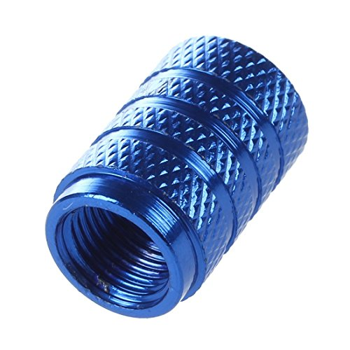 タイヤ空気ノズルキャップ,SODIAL(R)2pcs ラウンドアルミタイヤ空気ノズルキャップ(ブルー)