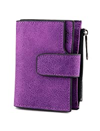 Favydov Large Capacity PU Leather 16 Credit Card Holder Organizer Compact Small Wallets for Women Purple