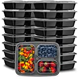 Ez Prepa [20 Pack] 24oz 3 Compartment Meal Prep Containers with Lids - Food Storage Containers - Plastic Bento Box, Stackable, Reusable, Microwavable, Freezer, and Dishwasher Safe - Food Containers