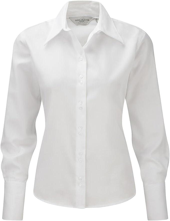Russell Collection Camisa SIN Plancha Non Iron Blanca Mujer Talla M (39-40) Manga Larga 100% Algodon: Amazon.es: Ropa y accesorios