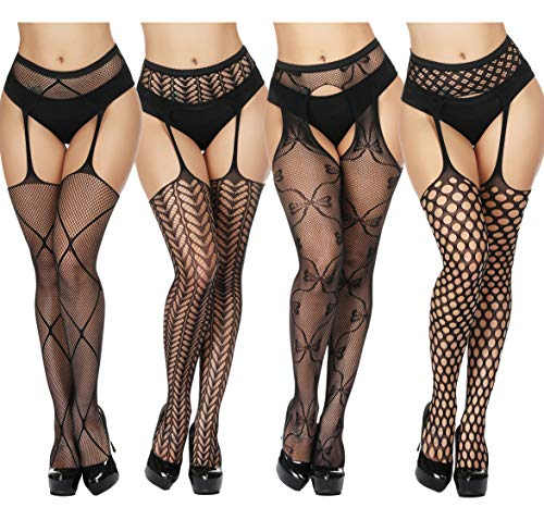 TGD Women's Fishnet Stockings Tights Sexy Suspender Pantyhose Thigh High Stocking Black ()