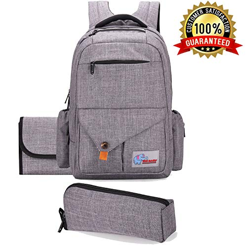 ELE BABY Diaper Bag Backpack - Multi-functional Travel Backpack with Changing Pad and BONUS Insulated Bottle Bag - Large Capacity for Travel, School & Adventure, Unisex Nappy Bag