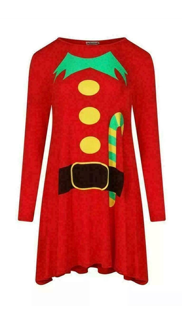 Womens Xmas Festive Elf Santa Print Chritmas Swing Skater Costume Dress UK 8-26