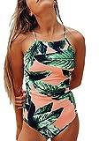Pxmoda-Women-One-Piece-Leaf-Print-Swimsuit-Back-Bandage-Padded-Bikini-Monokini-Swimwear