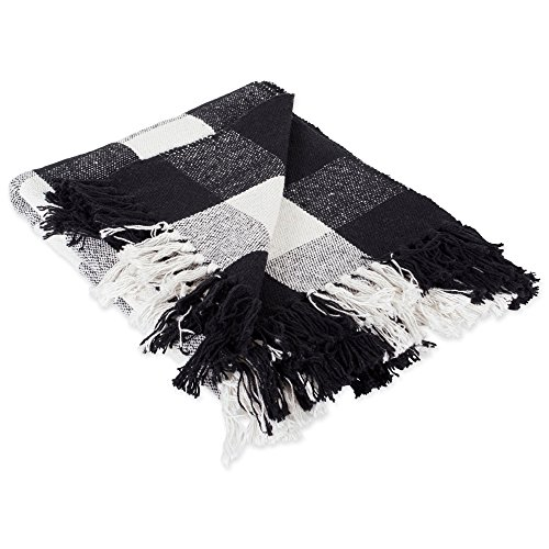 DII 100% Cotton Buffalo Check Throw for Indoor/Outdoor Use Camping BBQ's Beaches Everyday Blanket, 50 x 60, Black and White -