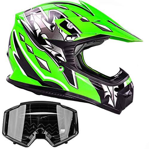 - Kids Youth Offroad Gear Combo Helmet & Goggles DOT Motocross ATV Dirt Bike MX Motorcycle Green Black, XL