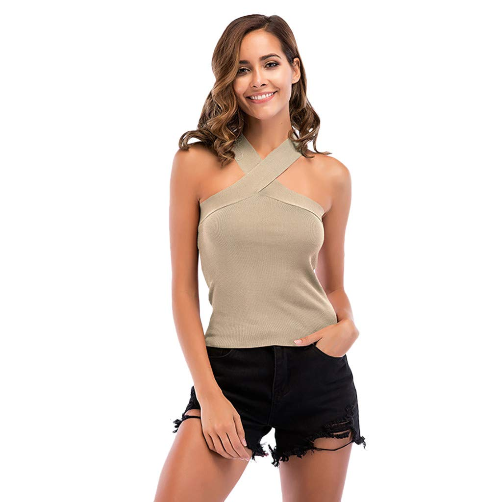 Tank Tops for Women,❤️TWinmar Ladies Knitting Wrapped Chest Sexy Strapless Sleeveless Vest Tank Top Crop Blouse