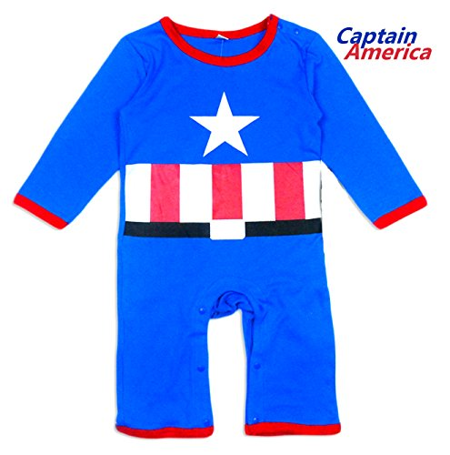 [BABY SUPERHERO Long Sleeves Pajama/ Romper (12-18 Months, Captain America)] (18 Month Superhero Costumes)