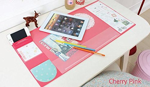 Large Size Mouse Pad Anti-slip Desk Mouse Mat Waterproof Desk Protector Mat with Phone Stand, Note Pad, Pockets, Dividing Rule, Calendar and Pen Holder (Pink) by JYDA (Image #1)