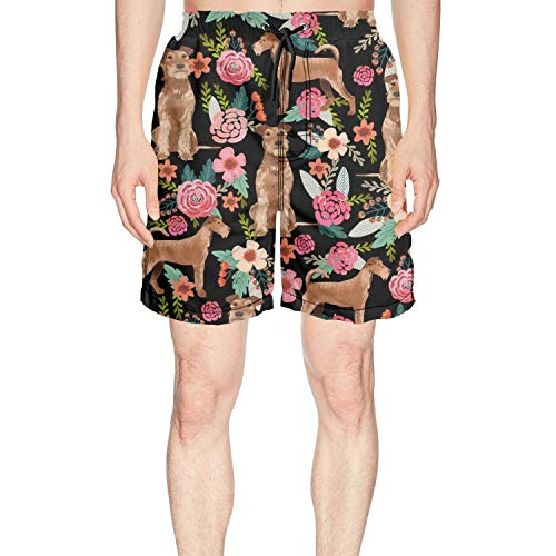 Young Men Irish Terrier Floral Dog Swim Trunks Surfing Outdoor Water Sports Cool Boardshorts