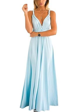 baaeb6f5e48c Brinny Multi-Way Multi-Style Damen Partykleid Multi-Rope Kreuz Schulterfrei  Bandage Lange Kleid Cocktail Abend Hochzeit 14 Farbe 4 Größe  S-XL   Amazon.de  ...