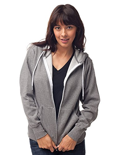 (Global Blank Mens and Womens Slim Fit Lightweight Zip Up Hoodie Gunmetal Gray XS)
