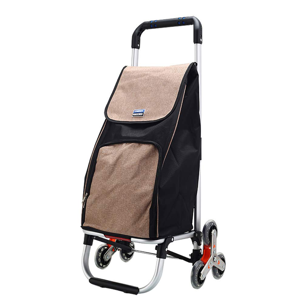 Olpchee Aluminum Alloy Foldable Climbing Stairs Shopping Luggage Cart Portable Small Pull Cart Hand Truck Trolley (Khaki)