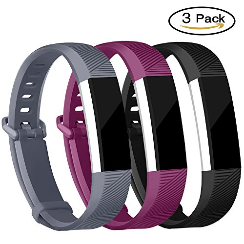 For Fitbit Alta Bands and Fitbit Alta HR Bands, Newest Adjustable Sport Strap Replacement Bands for Fitbit Alta and Fitbit Alta HR Smartwatch Fitness Wristbands Black Fuchsia Gray Large