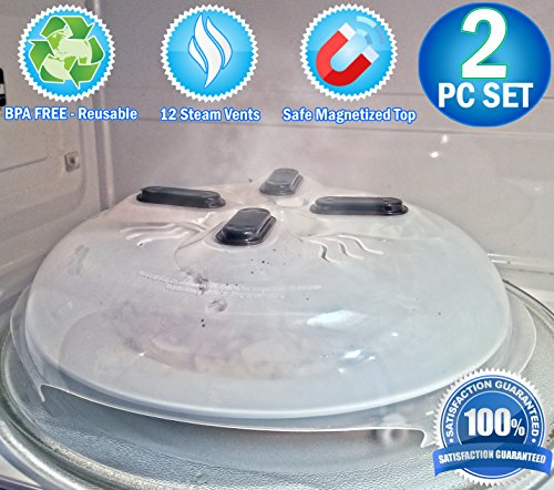 Microwave Hovering Anti Splattering Magnetic Food Lid Cover Guard - Microwave Splatter Lid with Steam Vents & Microwave Safe Magnets - Dishwasher Safe & Sticks To The Top Of Your ()