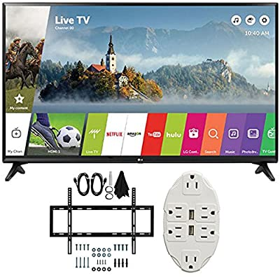 "LG 49"" Class Full HD 1080p Smart LED TV 2017 Model (LG49LJ5500) with Deco Mount Slim Flat Wall Mount Ultimate Bundle Kit for 32-60 inch TVs & Stanley Transformer Tap USB w/ 6-Outlet Wall Adapter"