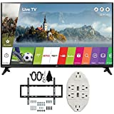 LG 49' Class Full HD 1080p Smart LED TV 2017 Model (LG49LJ5500) with Deco Mount Slim Flat Wall Mount Ultimate Bundle Kit for 32-60 inch TVs & Stanley Transformer Tap USB w/6-Outlet Wall Adapter