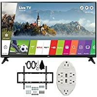 LG 49 Class Full HD 1080p Smart LED TV 2017 Model (LG49LJ5500) with Deco Mount Slim Flat Wall Mount Ultimate Bundle Kit for 32-60 inch TVs & Stanley Transformer Tap USB w/ 6-Outlet Wall Adapter