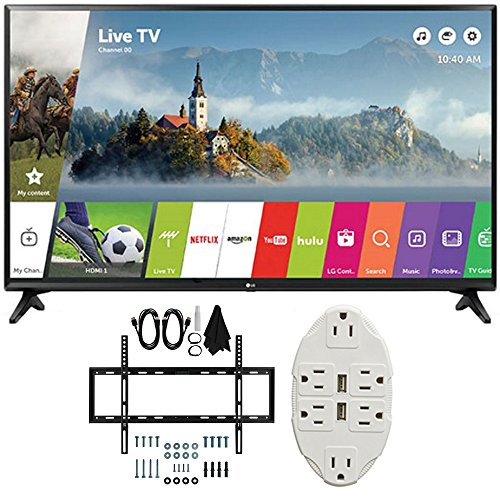 LG 49″ Class Full HD 1080p Smart LED TV 2017 Model (LG49LJ5500) with Deco Mount Slim Flat Wall Mount Ultimate Bundle Kit for 32-60 inch TVs & Stanley Transformer Tap USB w/6-Outlet Wall Adapter