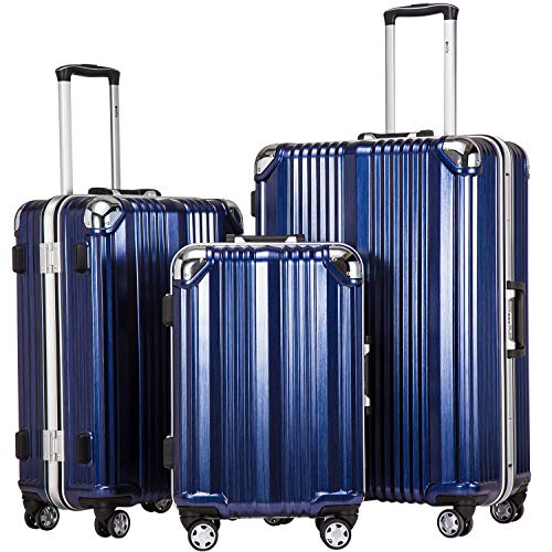 Coolife Luggage Aluminium Frame Suitcase 3 Piece Set with TSA Lock 100% PC (BLUE)
