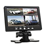 SallyBest® 7 Inch 16:9 HD 4 Split Quad Video Displays Automatic Identify 4 Video Input Signal TFT LCD Car Rear View Monitor with Stand-alone DVD VCR Camera GPS Headrest Monitor