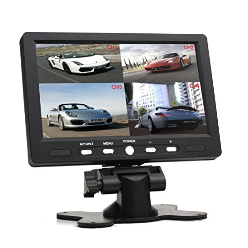 SallyBest® 7 Inch 16:9 HD 4 Split Quad Video Displays Automatic Identify 4 Video Input Signal TFT LCD Car Rear View Monitor with Stand-alone DVD VCR Camera GPS Headrest (Split Pedestal)