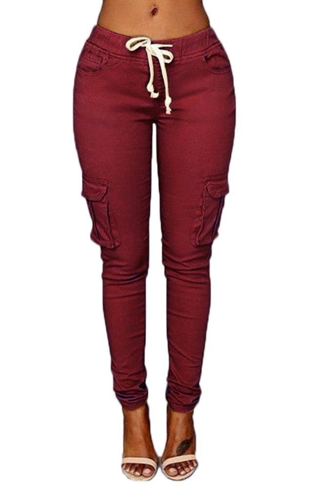 ABCWOO Womens Stretch Drawstring Pants Skinny Cargo Joggers Casual Trousers Claret X-Large