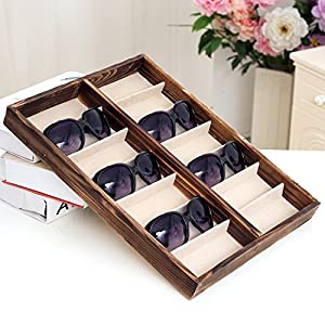 Rustic Wood Sunglass Display Case, 14 Compartment Eyewear Storage Box, Brown