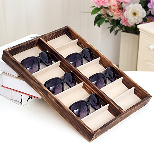 Rustic Wood Sunglass Display Case, 14 Compartment Eyewear Storage Box, - Trays Sunglasses Display