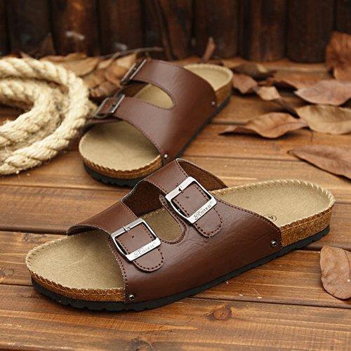 Xing Lin Herren Sandalen Flip-Flops Sommer Trend Mode Sandalen Rutschfeste Dicken Kissen Flip Flop Student Casual Hausschuhe 37 Braun