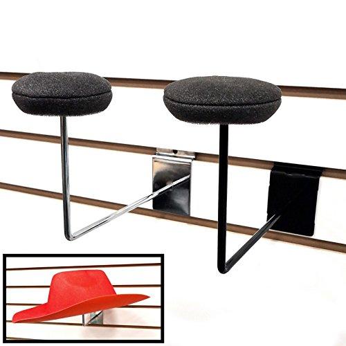 Slatwall Single Hat Display, Millinery Headwear Display Rack with Foam Pad - Black - 5 Pack by Store Fixtures Direct