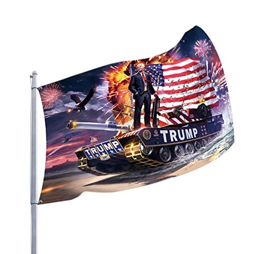 SPROTW Trump 2020 Flag - Keep America Great Trump Will Win Again Vibrant 100D Polyester Printed Trump Flag for Supporting President of The United States (3 x 5 Feet) (Tank)