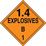 Accuform Signs MPL127VP50 Plastic Hazard Class 1/Division 4B DOT Placard, Legend ''1.4 EXPLOSIVES B 1'', 10-3/4'' Width x 10-3/4'' Length, Black on Orange (Pack of 50)