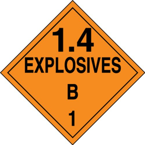 Accuform MPL127CT10 PF-Cardstock Hazard Class 1/Division 4B DOT Placard, Legend''1.4 EXPLOSIVES B 1'', 10-3/4'' Width x 10-3/4'' Length, Black on Orange (Pack of 10) by Accuform