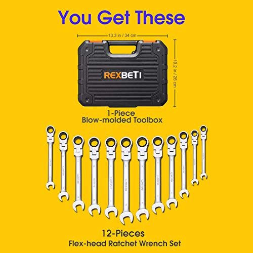REXBETI 12-Piece Metric Flex-Head Ratcheting Wrench Set, 8-19MM, Chrome Vanadium Steel Combination Wrench Set With Durable Blow Mold Case by REXBETI (Image #6)