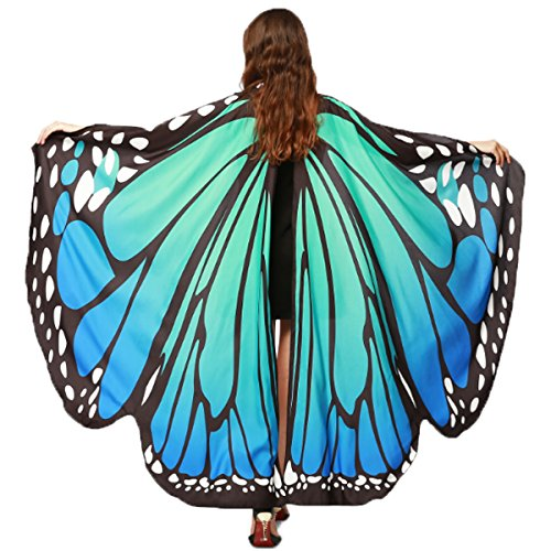 Lady Halloween Costumes (Halloween/Party Prop Soft Fabric Butterfly Wings Shawl Fairy Ladies Nymph Pixie Costume Accessory (Blue Green))