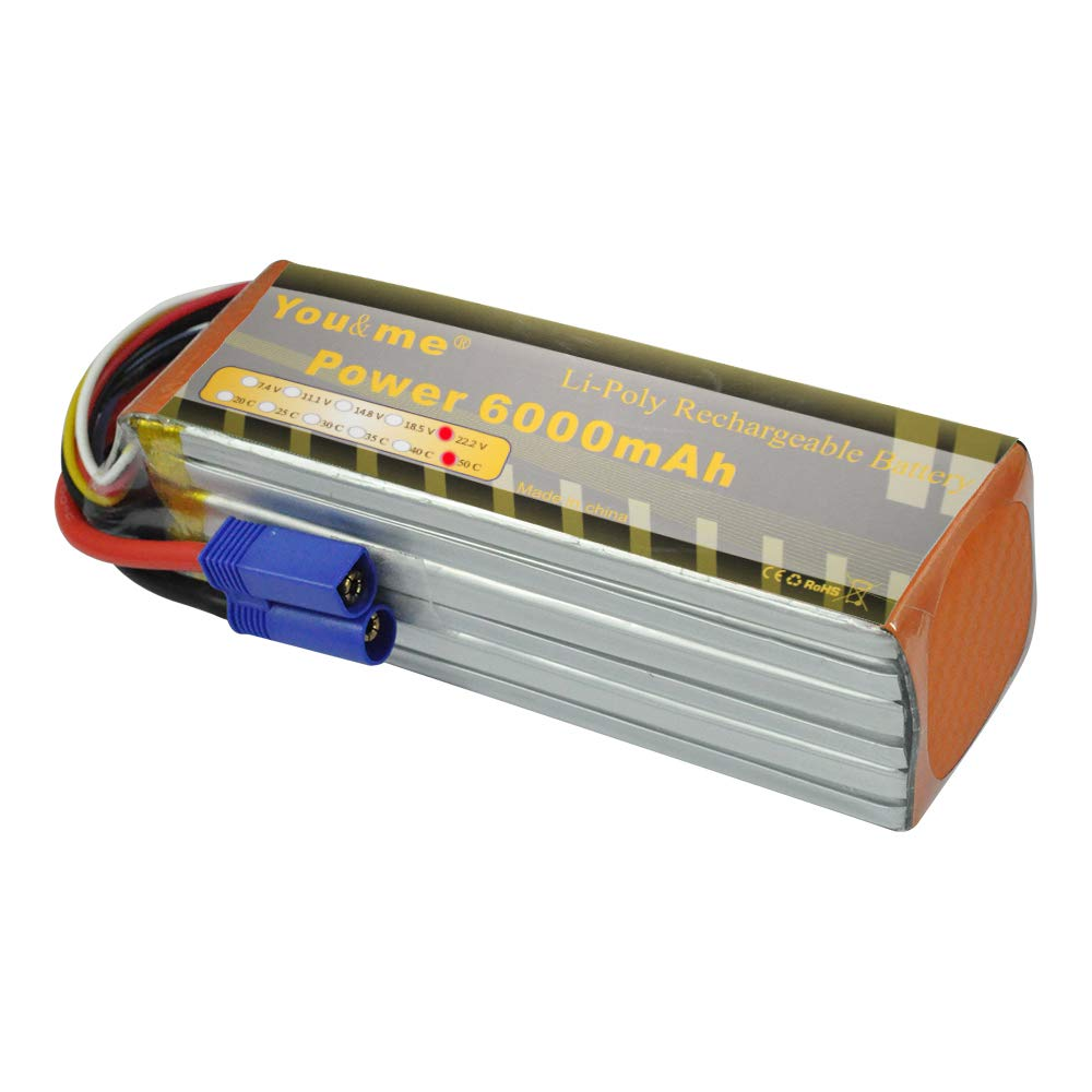 Youme 22.2v 6S Lipo Battery 5000mah XT90 50C for Align T-REX550 600 EDF Jets 500 600 700 Size RC Helicopters Quadcopter Airplane, RC Car/ Truck /Boat Youme Power