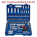 euronovità en-28891 Ratchet Combination Spanners Set, 94 Pieces, Socket with Inserts, Hand Tools for Work
