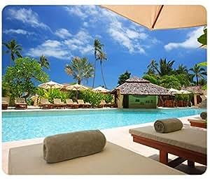 Beaches Palm Umbrella Hotel Resort Pool Mousepad,Custom Rectangular Mouse Pad