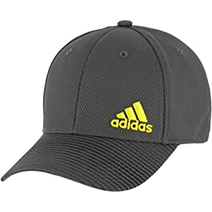 adidas Men's Release Stretch Fit Structured Cap, Onix/black/shock yellow, S/M
