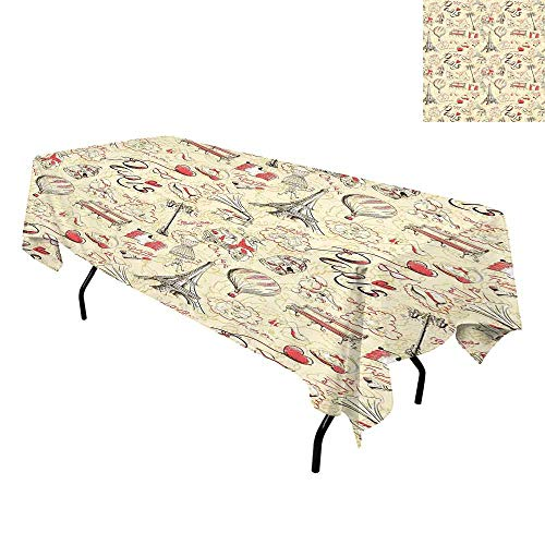 Paris Decor,Washable Table Cover,French Culture Themed Doodle with Airship Croissants Coffee Hat Sunglasses Lipstick,Tablecloths for Parties,W60 x L120 Inch -