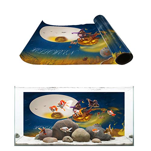 Fantasy Star Aquarium Background Halloween Fairy Witch Girl and Pumpkin Fish Tank Wallpaper Easy to Apply and Remove PVC Sticker Pictures Poster Background Decoration 16.4
