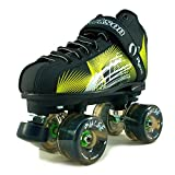 NEW Atom Jackson Rave Outdoor Roller Skate - Available in 5 Vibrant Color Options - Free Devaskation Bracelet - Black/Neon Green Skate - Black Pulse Wheels - Size 5