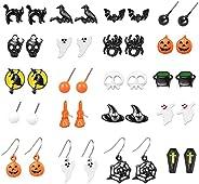 Halloween Stud Earrings for Girls Spider Pumpkin Ghost Candy Earrings Halloween Earrings for Women