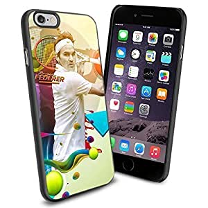 TENNIS Player Action Roger Federer, Cool iPhone 6 Case Cover Collector iPhone TPU Rubber Case Black (Smartphone)